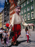 Children Walking Giant Puppet in Parade, Wroclaw, Poland Photographic Print by Pershouse Craig