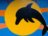 Dolphin Mural Detail on Shop Wall, Puerto Baquerizo Moreno, Ecuador Photographic Print by Richard I'Anson