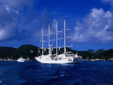 Four-Masted Luxury Yacht in Harbour, St. Barts Photographic Print by Greg Johnston
