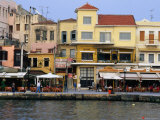 Popular Tourist Restaurants Overlooking City Harbour, Hania, Greece Photographic Print by Trevor Creighton