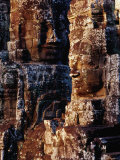 Stone Carvings of Face of Avalokiteshvara Decorating Towers of the Bayon, Angkor, Cambodia Photographic Print by Richard I'Anson