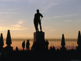Silhouetted Statue and Trees at Royal Palace, Madrid, Spain Photographic Print by Oliver Strewe