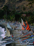 Rows of Fishing Boats on Beach, Amed, Indonesia Photographic Print by Kraig Lieb
