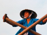 Woman Rowing Across the Mekong River, Can Tho, Vietnam Photographic Print by Keren Su