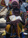 Woman with Baby at Monday Market in Kong, Looking at Camera, Cote d&#39;Ivoire Photographic Print by Pershouse Craig