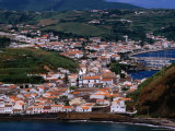 Aerial View of Capital, and Beach at Porta Pim, Horta, Portugal Photographic Print by Wayne Walton