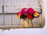 Flowers in Vase on Window Ledge, Megala Horafia, Greece Photographic Print by Trevor Creighton