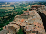 Rooftops of Town Overlooking Tuscan Countryside, Montepulciano, Italy Photographic Print by Bethune Carmichael