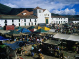 Market Held on Plaza Mayor with Parish Church in Background, Villa De Leyva, Boyaca, Colombia Fotografiskt tryck av Krzysztof Dydynski