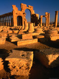 Monumental Arch at Entrance to Civic Centre and Colannaded Street, Palmyra, Syria Photographic Print by Mark Daffey