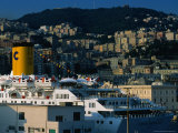 Passenger Ferry at Port, Genova, Liguria, Italy Photographic Print by Dallas Stribley