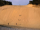 People Climbing Sand Dune, Great Sandy National Park, Australia Photographic Print by Wayne Walton