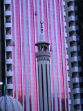 Minaret of Mosque Against Pink Sunset Reflected in Building, Dubai, United Arab Emirates Photographic Print by Tony Wheeler