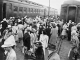 Japanese-American Internees Waiting to Board Train to Santa Anita, Los Angeles, c.1942 Photo