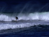 Surfer Riding Wave, Piha, Auckland, New Zealand Photographic Print by Jenny & Tony Enderby