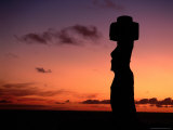 Ancient Moai at Ahu Ko Te Riku at Sunset, Easter Island, Valparaiso, Chile Photographic Print by Jan Stromme