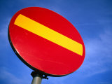 Red and Yellow Traffic Sign, Helsingborg, Skane, Sweden Photographic Print by Martin Lladó