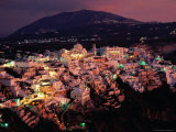 Town at Sunset, Fira, Greece Photographic Print by John Elk III