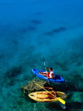 Couple on Sea Kayaks on Fernandez Bay, Cat Island, Bahamas Photographic Print by Greg Johnston