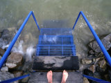 Feet Entering the Thermal Waters of Lake Balaton, Keszthely, Hungary Photographic Print by Martin Moos