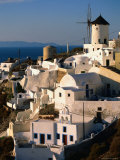 Town with Windmill, Oia, Greece Photographic Print by John Elk III