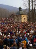 Crowds at Easter Passion Plays Near Krakow, Kalwaria Zebrzydowska, Poland Photographic Print by Krzysztof Dydynski