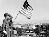 American Flag Bearer at Casablanca Conference, Morocco, c.1943 Plakater