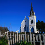 Town Church in Morning with Picket Fence in Front, Mendocino, USA Photographic Print by Wes Walker