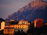 Town Buildings with Supramonte Mountain Behind, Orgosolo, Italy Photographic Print by Damien Simonis