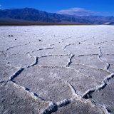 Patterned Salt Pan with Mountains in Distance, Death Valley National Park, USA, Photographic Print