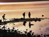 People on Beach at Sunset, Puerto Natales, Chile Photographic Print by Wayne Walton