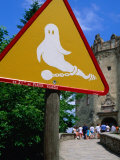"""Beware of Ghosts"" Sign at Niedzica Castle, Nidzica, Poland Photographic Print by Krzysztof Dydynski"