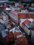 Streets and Buildings in Old Riga from St. Peter&#39;s Church, Riga, Latvia Photographic Print by Pershouse Craig