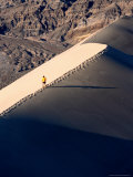 Hiker on Ridge of Eureka Sand Dunes, Death Valley National Park, USA Photographic Print by Woods Wheatcroft