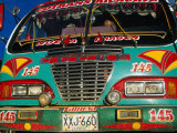 Colourful Old Bus on Plaza Mayor (Central Square), Villa De Leyva, Boyaca, Colombia Photographic Print by Krzysztof Dydynski