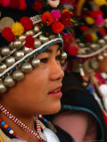 Portrait of Hani Girl in Traditional Headwear, Xishuangbanna, China Photographic Print by Keren Su