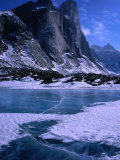 Mt. Thor and Frozen Kettle Lake, Auyuittuq National Park, Baffin Island, Nunavut, Canada, Photographic Print