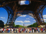 Tourists Queuing at Base of Eiffel Tower, Paris, France Photographic Print by Richard I'Anson