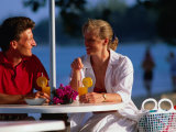 Couple Enjoying Drinks on Beach, Sunset Crest, Barbados Photographic Print by Philip & Karen Smith