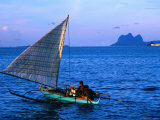 Outrigger Canoe in Bay of Semporna, Semporna, Sabah, Malaysia Photographic Print by Mark Daffey