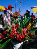 Selling Flowers at the Roseau Market, Roseau, Dominica Photographic Print by Michael Lawrence