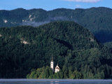 Church on Bled Island, Lake Bled, with Mala Osojinica Forest Behind, Bled, Gorenjska, Slovenia Photographic Print by Grant Dixon