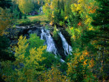 Waterfall and Autumn Colours with House in Background, Silver River Falls, Keweenaw County, USA Photographic Print by Charles Cook