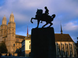 Statue of General Waldmann/Grossmunster, Zurich, Switzerland Photographic Print by Martin Moos