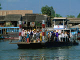 Loaded Passenger Ferry Crossing Canal in Mekong Delta, Chau Doc, an Giang, Vietnam Photographic Print by Anders Blomqvist