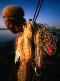 Balinese Fisherman with Nets and Equipment, Bali, Indonesia Photographic Print by Paul Kennedy