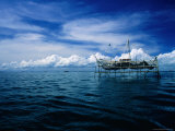 Fishing Platform from Where Nets Are Lowered into South China Sea, Sandakan, Sabah, Malaysia Fotografiskt tryck av Mark Daffey