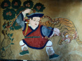 Detail of Wall Painting in Tamzhing Goemba, Choskhor or Bumthang Valley, Jakar, Bumthang, Bhutan Photographic Print by Tony Wheeler