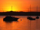 Sunset Over Boats Moored in Russell Harbour, New Zealand Photographic Print by David Wall
