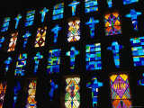 Stained Glass Windows of the Modern Cathedral, Barranquilla, Colombia Photographic Print by Krzysztof Dydynski